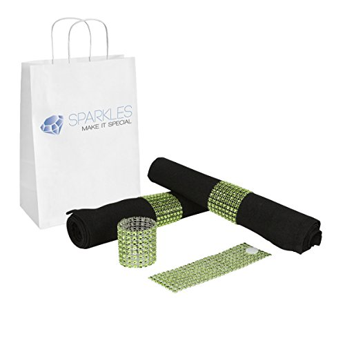 Sparkles Make It Special 500-pcs Rhinestone Diamond Napkin Rings - Reusable Velcro - 19 Colors - Choose Your Quantity - Apple Green - Wedding Party Dinner Banquet Reception - Chair Bow Cover by Sparkles Make It Special