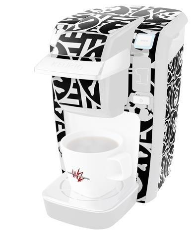 スカルパッチパターンBW – デカールスタイルビニールスキンKeurig k10 / k15 Mini Plusコーヒーメーカー( Keurigに含まれません   B0181DDH9I