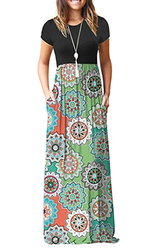 AUSELILY Women's Short Sleeve Loose Plain Floral Print Maxi Dresses Casual Long Dresses Pockets(M,Round Floral Green)