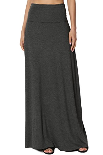 TheMogan Women's Casual Solid Draped Jersey Relaxed Long Maxi Skirt Charcoal S ()