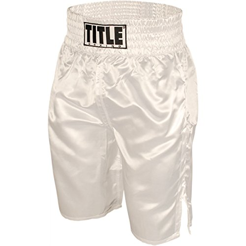 TITLE Professional Boxing Trunks, White, Youth Large