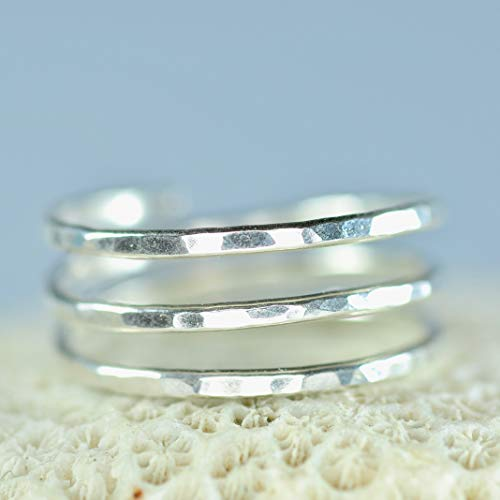 (Sterling Silver Adjustable textured hammered wire wrap coil ring, thumb ring, pregnancy ring)