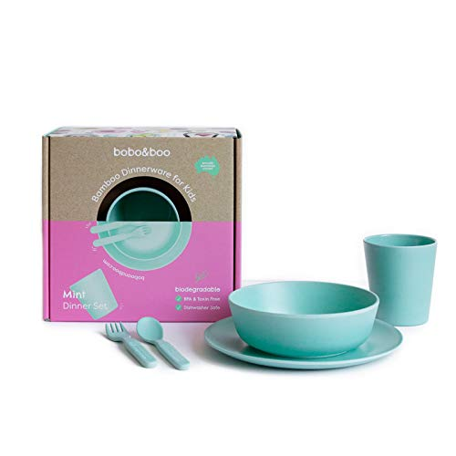 (Bobo&Boo Bamboo 5 Piece Children's Dinnerware, Mint Green, Non Toxic & Eco Friendly Kids Mealtime Set for Healthy Infant Feeding, Great Gift for Birthdays, Christmas & Preschool Graduations )