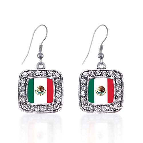 (Inspired Silver - Mexican Flag Charm Earrings for Women - Silver Square Charm French Hook Drop Earrings with Cubic Zirconia Jewelry)