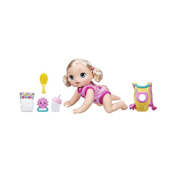 Baby Alive Go Bye Bye Blonde Hair Doll that Talks, Crawls, Drinks, Wets & more, for Kids Ages 3 Years & Up