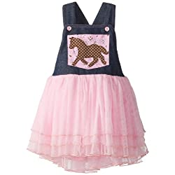 Mud Pie Little Girls' Cowgirl Overall Dress