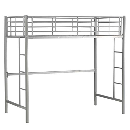 Costzon Twin Metal Loft Bed, Metal Bunk Bed with Ladders (Silver)