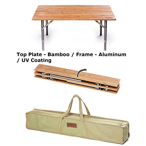 MountRiver Portable Height Adjustable, 4 Fold Folding Wooden Table for Travel Home Deco Picnic Camping Tea Coffee - Chandler Malls