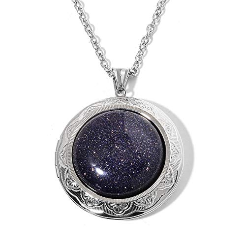 (Shop LC Delivering Joy Locket Chain Pendant Necklace for Women Stainless Steel Blue Goldstone Gift Jewelry Size 24