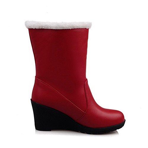 Allhqfashion Women's Zipper Round Closed Toe High-Heels PU Low-Top Boots Red DZqOI