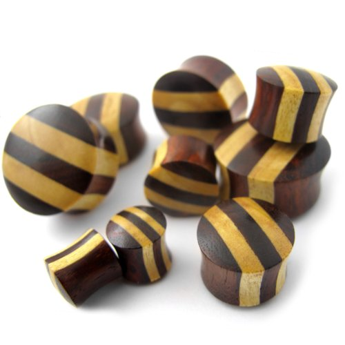 Gauge Sono /& Pangal Striped Wood Plugs Pair of 1//2 WD059 Double Flare 12mm