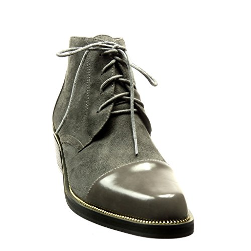 Angkorly - Zapatillas de Moda Botines Zapato acento bimaterial low boots mujer metálico patentes Talón Tacón ancho alto 4.5 CM - Gris
