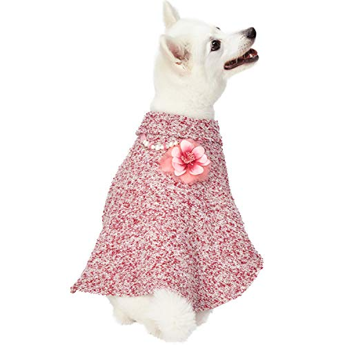 Blueberry Pet 2018/2019 New 4 Patterns Marled Cerise Red All-Weather Costume Handmade Knit Dog Poncho Sweater with Detachable Necklace & Flower, Back Length 12