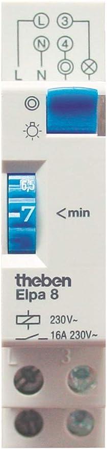 Theben 0080002 ELPA 8 - Minutero de Escalera - Carril DIN - Electromecáncio - Temporizador: Amazon.es: Bricolaje y herramientas