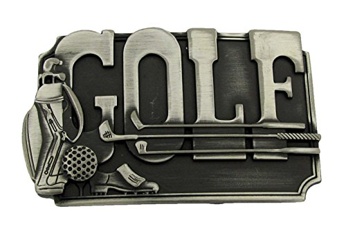 Golf Clubs Ball Pewter Buckle