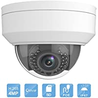 IP PoE Security Camera, Savvypixel H.265 Outdoor 4MP WDR Vandal-resistant Network IR Fixed Dome Camera 2.8mm Lens IP67 Waterproof Video Surveillance Camera with Micro SD Slot Audio Interface