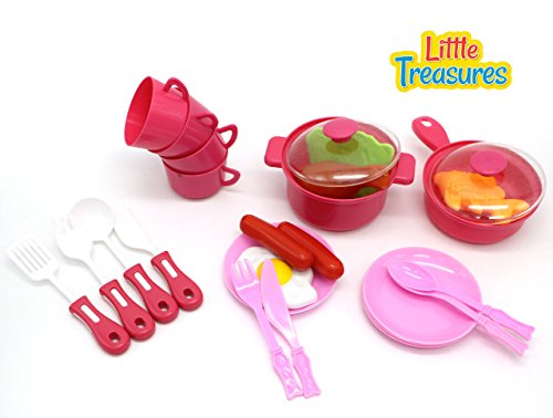 Little Treasures Cook & Serve Meals Playset for Kids
