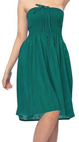 LA LEELA de un tamaño más Tubo Corto Viscosa Vestido Halter Bordado Encubrimiento Verde Turqiose_t382
