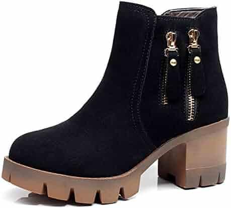 9c083606853 SFNLD Women s Stylish Faux Suede Round Toe Side Zip Medium Chunky Heels  Martin Short Booties