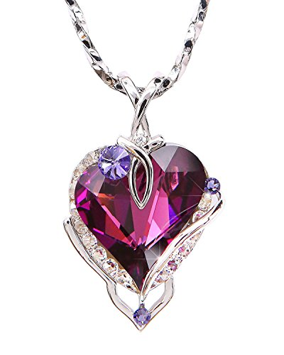 William Wang Designs Big Heart Pendant Necklace with Swarovski Crystal. Made in USA. (P8134-1AM-3019)