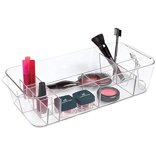 InterDesign Clarity Cosmetic Organizer Tote for Vanity Cabinet to Hold Makeup, Beauty Products - Clear