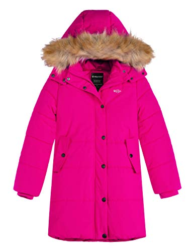 Wantdo Girl's Heavy Thickened Winter Coat Long Hooded Puffer Jacket Rose Red 8