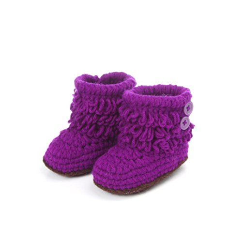 DZT1968® Baby Girl Crochet Knit Keep Warm Floor Socks Shoes Boots (3-12 Months) (Purple)