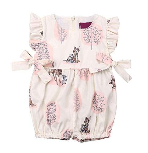 Deer Pattern - mettime Baby Girl Cotton Deer Romper Newborn Bodysuit Toddler Girls Jumpsuit Summer Outfits Clothes (Pink, 0-6m)