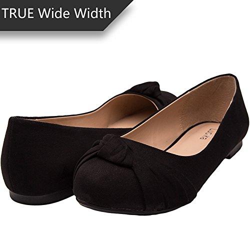 Women's Wide Width Flat Shoes - Comfortable Slip On Round Toe Ballet Flats. (MC Black (Wide Width Ladies Shoes)