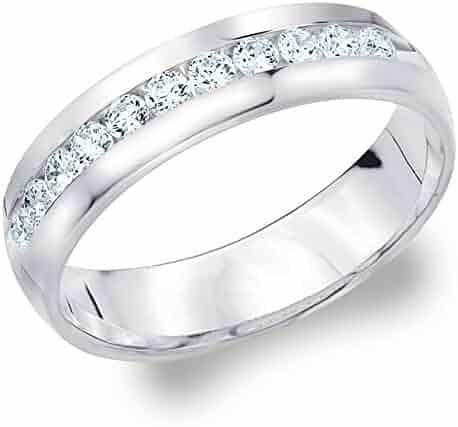 14K White Gold Diamond Men's Channel Set Ring (.50 cttw, H-I Color, I1-I2 Clarity)