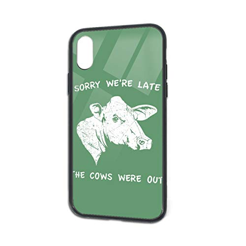 Shockproof Cow Nuts Lates Glass Back Phone Case for iPhone X iPhone Xs]()
