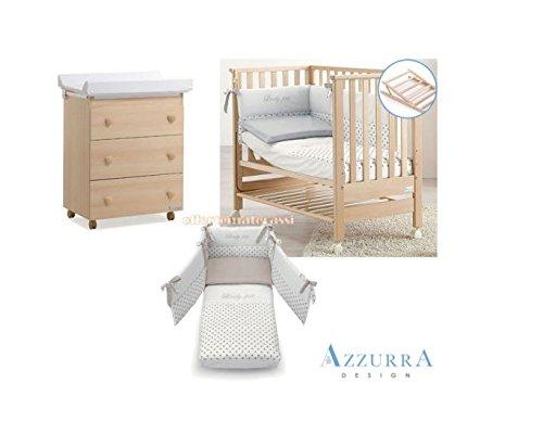 Kinderbett Azzurra Design Contact Natur + Set Textil taupe + Badewanne/Wickelauflage Drei Schubladen