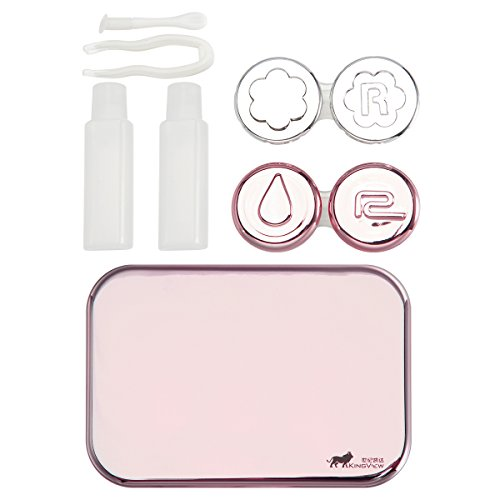Bissport Cute Contact Lens Case Travel Kit Holder With Mirror - Rose Gold (Contact Lens Case Travel)