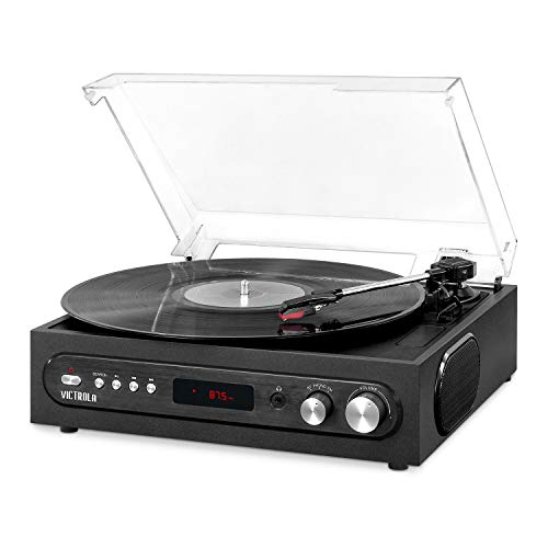 Victrola All-in-1 Bluetooth Record Player with Built in Speakers and 3-Speed Turntable Black (VTA-65-BLK) (Victrola 6 In 1 Bluetooth Entertainment Center Mahogany)