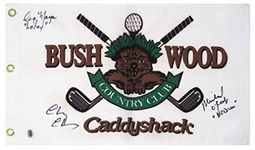 Chevy Chase, Michael O'Keefe & Cindy Morgan Signed Caddyshack Bushwood Golf Flag w/Lacey, Noonan from Schwartz Sports Memorabilia