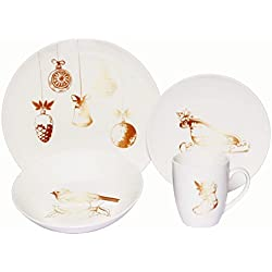 Melange Coupe 16-Piece Porcelain Dinnerware Set (Vintage Christmas) | Service for 4 | Microwave, Dishwasher & Oven Safe | Dinner Plate, Salad Plate, Soup Bowl & Mug (4 Each)