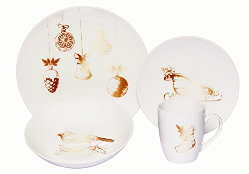 Melange Coupe 16-Piece Porcelain Dinnerware Set (Vintage Christmas) | Service for 4 | Microwave, Dishwasher & Oven Safe | Dinner Plate, Salad Plate, Soup Bowl & Mug (4 (Christmas Dish)