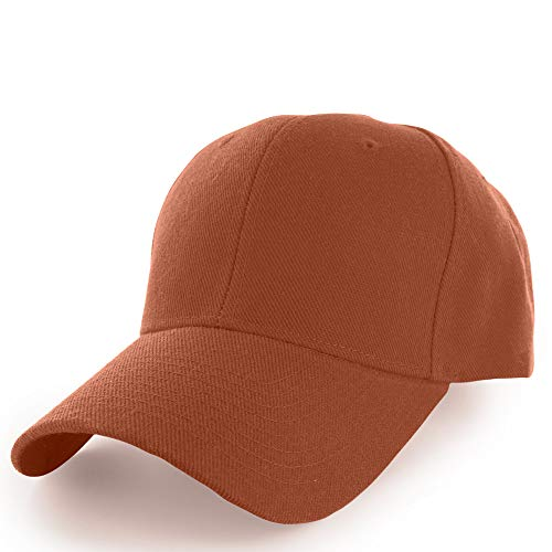 (KANGORA Plain Baseball Cap Adjustable Men Women Unisex   Classic 6-Panel Hat   Outdoor Sports Wear (20+Colors) (Rust))