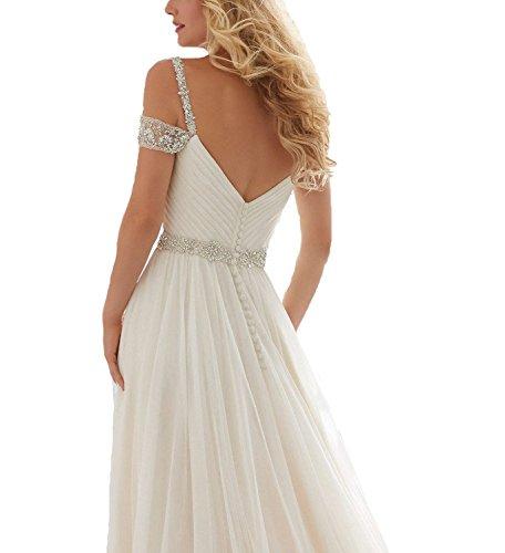 Perlstickerei line Lange Straps A Abendkleid Hochzeitskleider Braut CoCogirls Strand Brautkleider Chiffon White Romantisch BnFqIaxwa