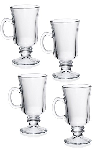 Pedestal Clear Glass Irish Coffee Cappuccino Mug, 8 - Glass Pedestal Coffee Mugs