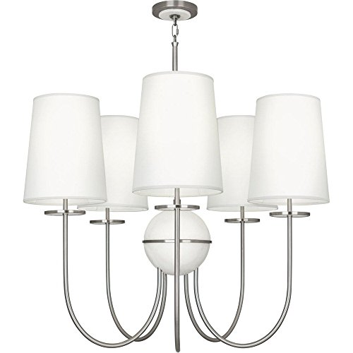 (Robert Abbey 1423 Fineas - Five Light Chandelier, Dark Antique Nickel/Alabaster Stone Finish with Ascot White Fabric Shade)