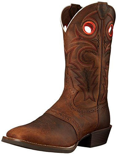 "Justin Boots Men's Silver Collection 12"" Western, Brown, 9.5"