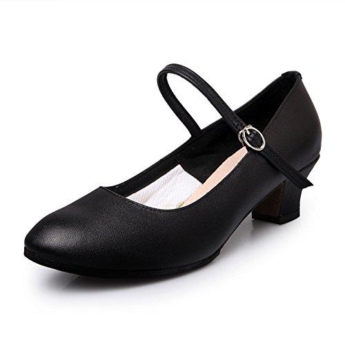 SQIAO-X- Scarpe da ballo, Kraft pavimento in gomma a bassa testa rotonda fibbia Square Dance Dance Latina Professional scarpe da ballo, nero,38