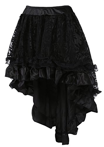 COSWE WOMEN'S Solid Color Lace Asymmetrical High Low Corset Skirt