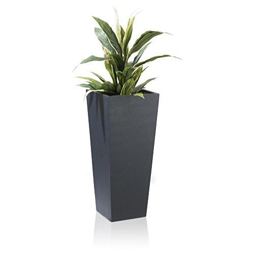 Pflanzkübel Blumenkübel LAVIA Fiberglas Pflanztopf - Farbe: anthrazit matt - robuster, UV-beständiger, wetterfester & frostsicherer Blumentopf für den Garten, Innen- & Außenbereiche