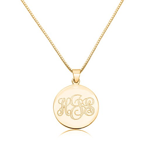 Sterling Silver Yellow Gold Plated Personalized Pendant 24mm Three Initial Monogram Engraved Necklace (Monogram Sterling Silver Necklace)