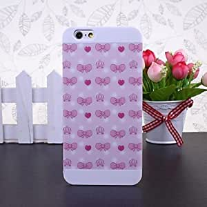 LCJ Pink Bow Patchwork Pattern White Plastic Hard Case for iPhone 6
