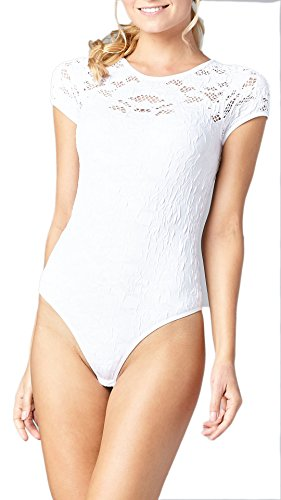 Lace Stretch Bodysuit - Conceited Premium Stretch Bodysuit For Women - 6 Styles - 4 Colors - by (One Size, Crochet White)