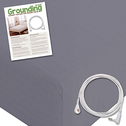 Grounding Brand Extra Deep Fitted Queen Size Sheet with Grounding Connection Cable, 400TC Conductive Mat with Pure Silver Thread for Better Sleep, Natural Wellness and Healthy Earth Energy, Grey by Grounding Brand (Image #1)