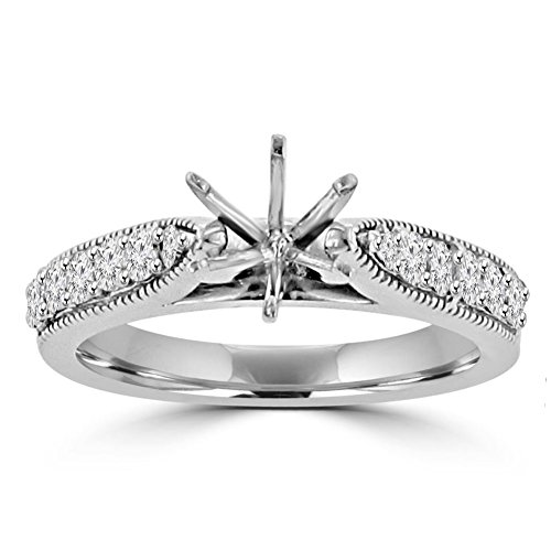 (0.70 ct Round Cut Diamond Semi Mount Engagement Ring Whit Millgrain on The Shank in 14 kt White Gold In Size 12.5)
